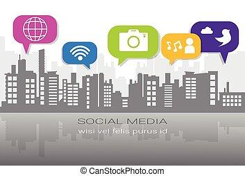 Social Media Icons über silhouette City Hintergrund-Netzwerk-Kommunikation Konzept.