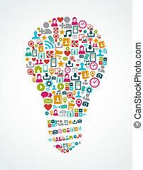 Social Media Icons isoliert Idee Glühlampe EPS10 Datei.