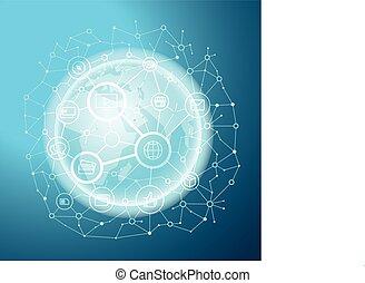 Social Media Network Vektorkonzept. Abstrakte Kommunikation auf der Erde