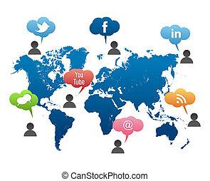 Social-Media-Weltkartenvektor