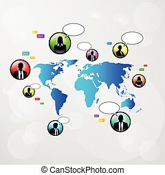 Social Network Communication Icons Weltkarte.