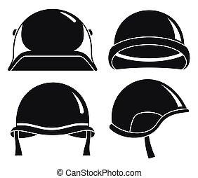 Soldatenhelm-Icon Set, einfache Art