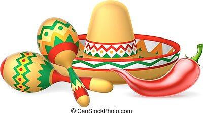 sombrero, maracas, pfeffer, chilli, mexikanisch