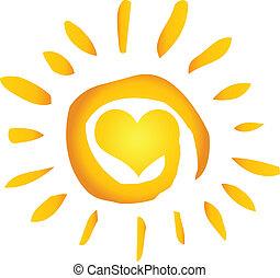 Sommer heiße, abstrakte Sonne mit Herz