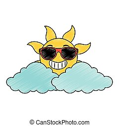 sommer, sonnenbrille, sonne