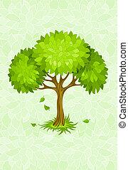 Sommerbaum im grünen Hintergrund mit Schmuck