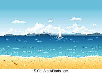 Sommerblaue Meereslandschaft mit Segelboot und Bergen am Horizont.