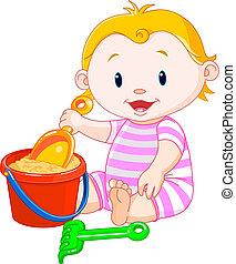 Sommermädchen spielt mit Eimern