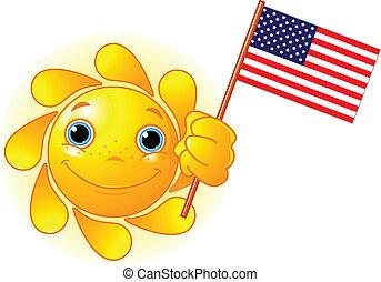 Sommersonne mit amerikanischer Flagge.