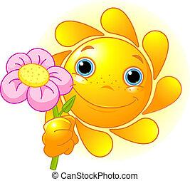 Sommersonne mit Blume.