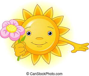 Sommersonne mit Blumen