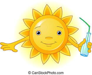 Sommersonne mit Flasche
