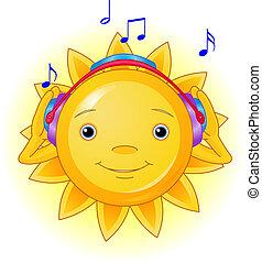 Sommersonne mit Kopfhörern