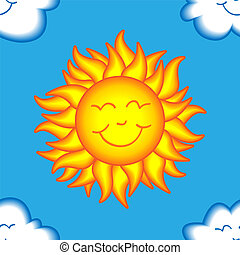 sonne, glücklich, seamless, wolke, muster