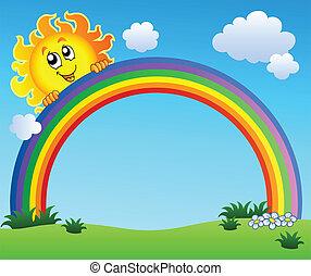 Sonne hält Regenbogen am blauen Himmel
