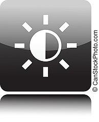 Sonne-Icon auf schwarzem Knopf