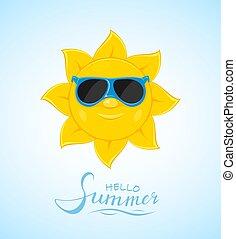 Sonne mit blaue Sonnenbrille.