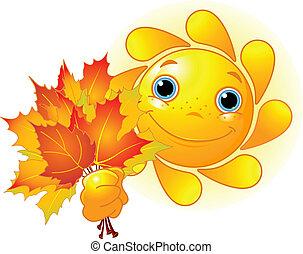 Sonne mit Herbstblättern