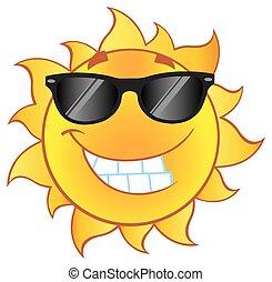 Sonne mit Sonnenbrille.