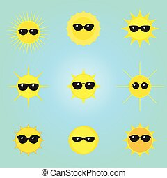 Sonne mit Sonnenbrillen Icons setzen Vektor.