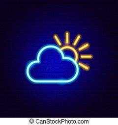 sonne, neon zeichen, wolke