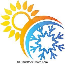 Sonne und Schneeflocken Klimaanlage Symbol.