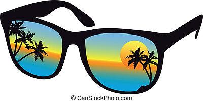 Sonnenbrille mit Seeuntergang
