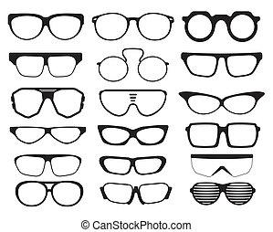 sonnenbrille, silhouetten, brille