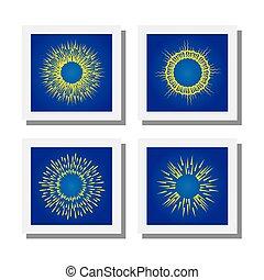 Sonnenstrahlen oder Sonnenstrahlen Vektor Icons.