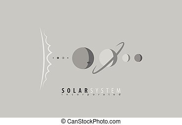 Sonnensystem. Sun. Planeten. Universum. Der Weltraum. Science-Logo. Sonnenlogo