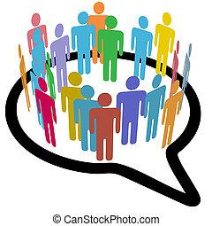 Soziale Medien, Leute im inneren Kreis, sprechen Luft