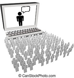 Soziale Netzwerk-Publikum Leute beobachten Computermonitor.