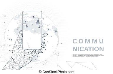 Soziales Medienkommunikationskonzept. Hand halten Smartphone mit menschlichen Community Icons auf der Weltkarte. Netzwerktechnologie Hintergrund