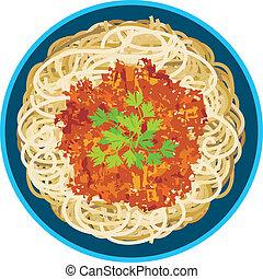spaghetti, platte