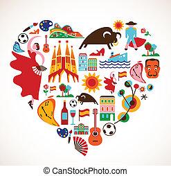 Spanien Love - Herz mit Vektor-Ikonen