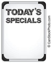 specials, whiteboard, tafelkreide, geschrieben, today's, nachricht
