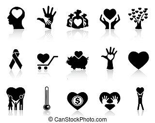 spende, wohltätigkeit, schwarz, heiligenbilder