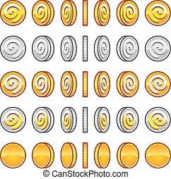 spiel, geldmünzen, satz, rotation
