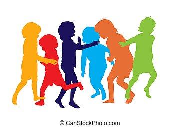 spielende , 3 kinder, silhouetten