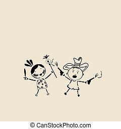 spielende , glücklich, skizze, kinder