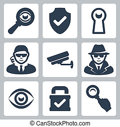 spion, schutzschirm, heyhole, heiligenbilder, schloß, vergrößern, spion, überwachung, vektor, fotoapperat, glas, sicherheitsmann, auge, set: