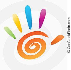 spirale, abstrakt, vektor, gefärbt, hand