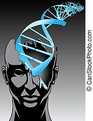 spirale, -, mann, zukunft, biologie, technologien, dns