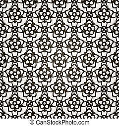 spitze, pattern., seamless, hintergrund., vektor, blumen-