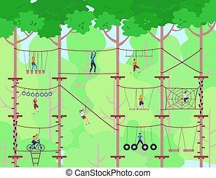 sport, ladder., abenteuerlustig, playground., illustration., vektor, abenteuer, kinder, haben, kinder, aktivität, seil, hochklettern, park