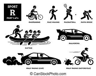 sport, spiele, alphabet, r, pictogram., vektor, heiligenbilder
