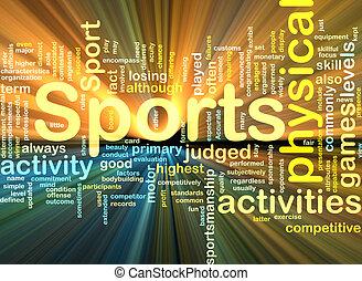 Sportaktivitäten leuchten im Hintergrund