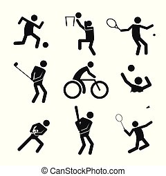 Sportfigurensymbol Vektorgrafik eingestellt.