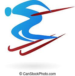 Sportvektorfigur - Ski