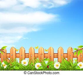 Spring Background, Gras und Holzzaunvektor